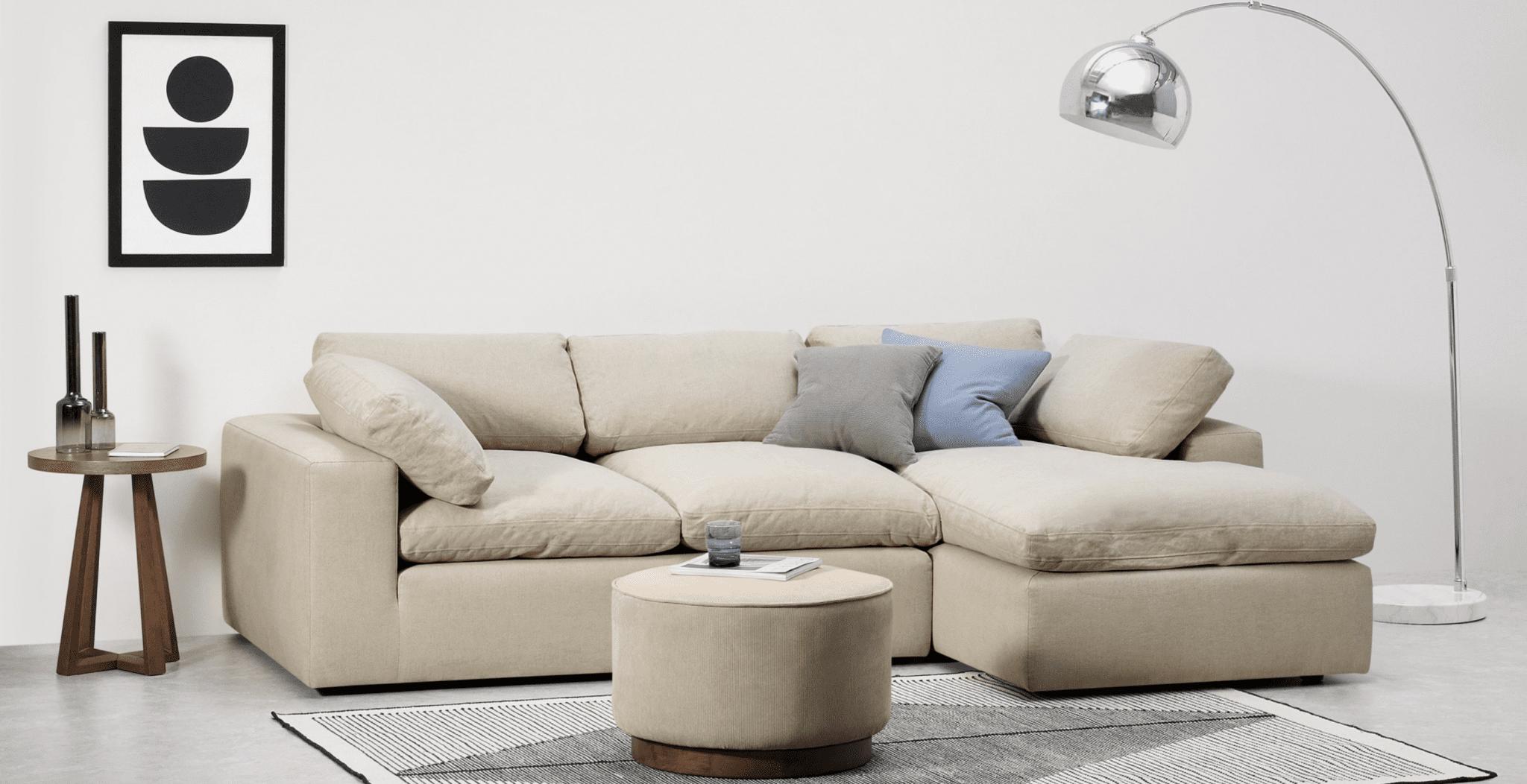 canapé en lin avec méridienne