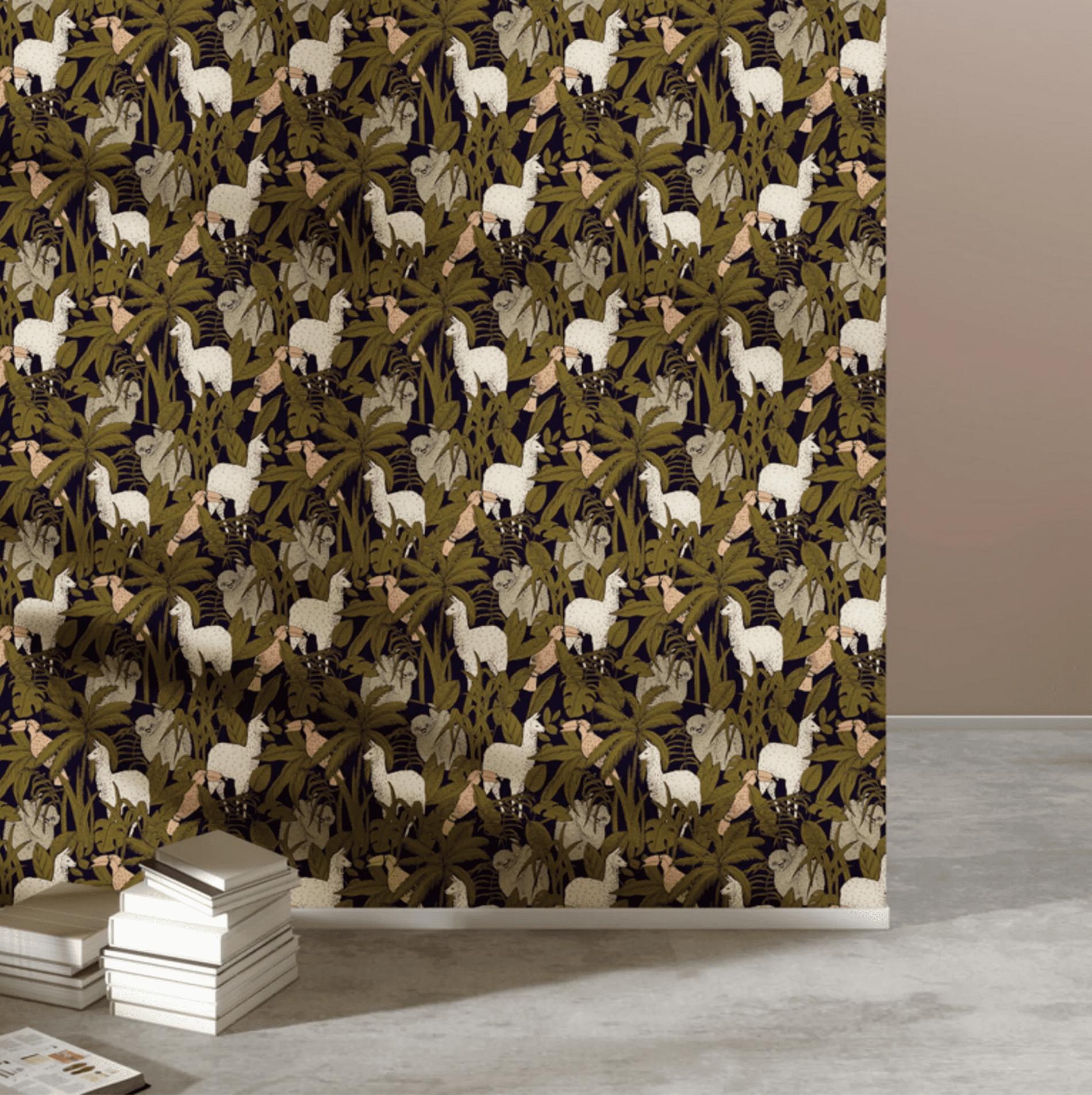papier peint lama
