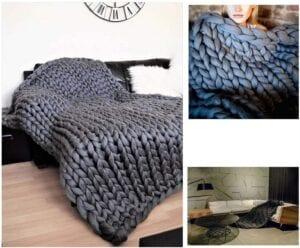 Plaid en tricot épais
